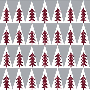 forest trees fabric // trees outdoors camping cabin fir tree fabric - maroon and grey