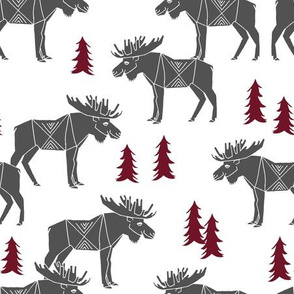 moose fabric // moose nursery baby fabric - charcoal, maroon