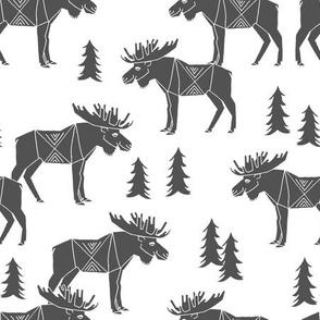 moose fabric // moose nursery baby fabric - charcoal