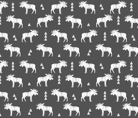 moose fabric // moose nursery baby fabric - charcoal fabric by andrea_lauren on Spoonflower - custom fabric