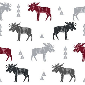 moose fabric // moose nursery baby fabric - charcoal, maroon, grey