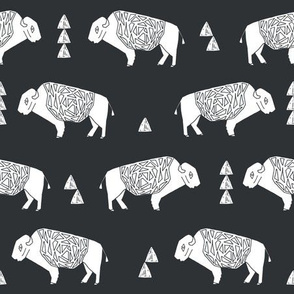 buffalo fabric // nursery baby cabin outdoors fabric print andrea lauren design - charcoal