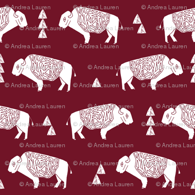 buffalo fabric // nursery baby cabin outdoors fabric print andrea lauren design - marroon
