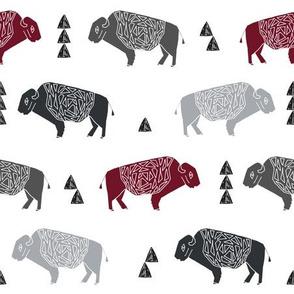 buffalo fabric // nursery baby cabin outdoors fabric print andrea lauren design - marroon, charcoal, grey