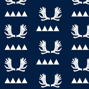 moose antlers fabric // moose fabric andrea lauren fabric nursery baby design - navy