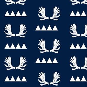 moose antlers fabric // moose fabric andrea lauren fabric nursery baby design - navy