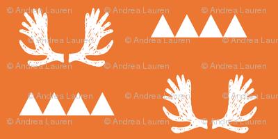 moose antlers fabric // moose fabric andrea lauren fabric nursery baby design - orange