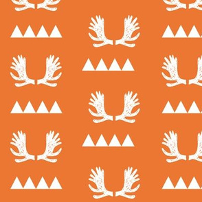 moose antlers fabric // moose fabric andrea lauren fabric nursery baby design - orange