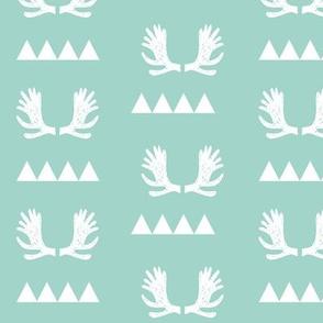 moose antlers fabric // moose fabric andrea lauren fabric nursery baby design - mint