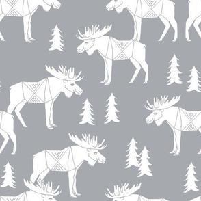 moose fabric // moose nursery baby fabric - light grey