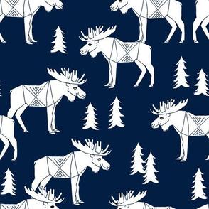 moose fabric // moose nursery baby fabric - navy