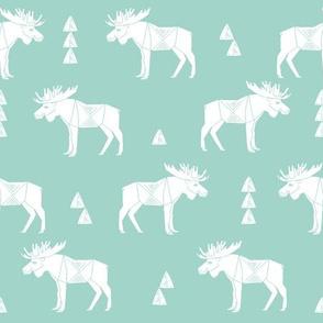 moose fabric // moose nursery baby fabric - mint