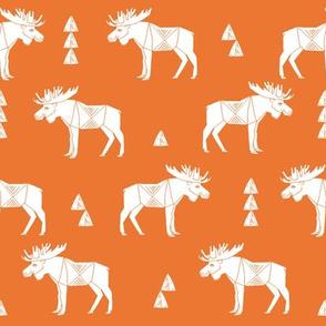moose fabric // moose nursery baby fabric - orange