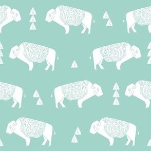 buffalo fabric // nursery baby cabin outdoors fabric print andrea lauren design - mint