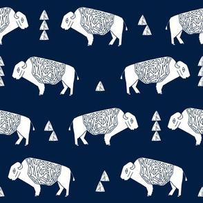buffalo fabric // nursery baby cabin outdoors fabric print andrea lauren design - navy