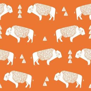 buffalo fabric // nursery baby cabin outdoors fabric print andrea lauren design - orange