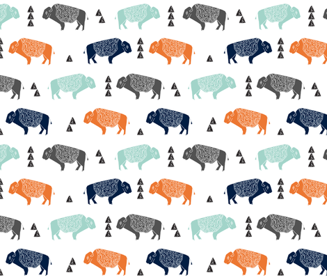 Buffalo fabric nursery baby cabin outdoors fabric print for Nursery print fabric