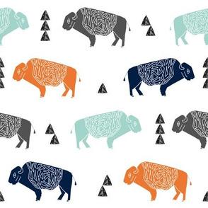 buffalo fabric // nursery baby cabin outdoors fabric print andrea lauren design - navy orange