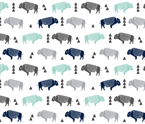 buffalo fabric // nursery baby cabin outdoors fabric print andrea lauren design - navy mint fabric by andrea_lauren on Spoonflower - custom fabric