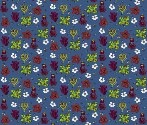 Insectivorous plants on rich blue - medium fabric by coppercatkin on Spoonflower - custom fabric
