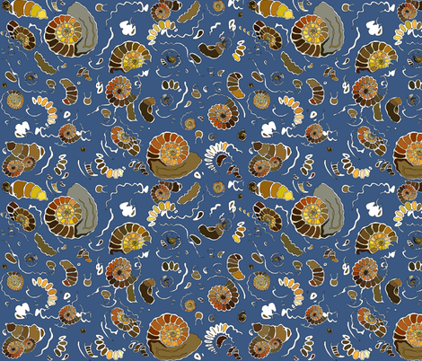 Limestone  extra ammonites in  rich blue MEDIUM fabric by coppercatkin on Spoonflower - custom fabric