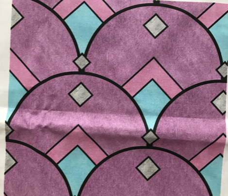 Art Deco Diamond Fan in Purple Pastels
