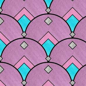 Art Deco Diamond Fan in Purple Pastels