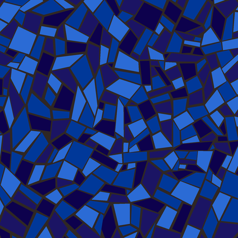 Mosaic Tile / Stained Glass Texture Blue fabric by ameliae on Spoonflower - custom fabric