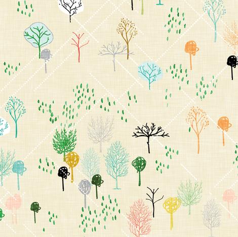 Ambrosia Arbor (cream linen) fabric by nouveau_bohemian on Spoonflower - custom fabric