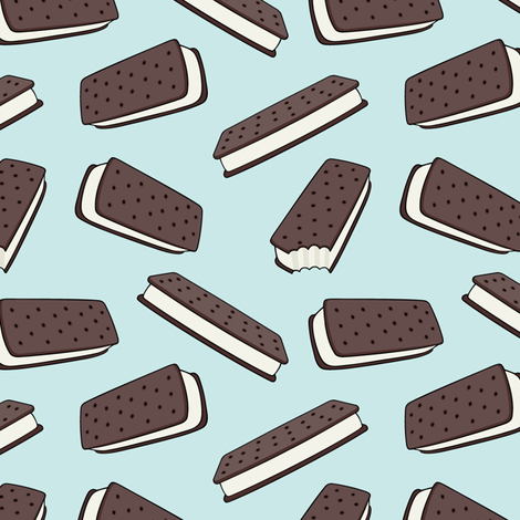 ice cream sandwich - chocolate on blue fabric by littlearrowdesign on Spoonflower - custom fabric