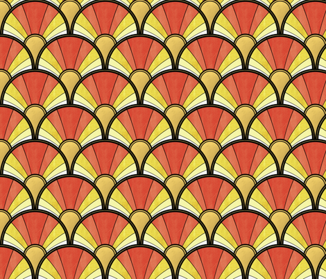 Golden Sunshine Art Deco Pattern fabric by suzzincolour on Spoonflower - custom fabric