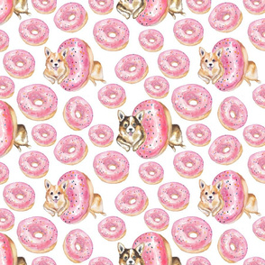 Pembroke Welsh Corgis and Pink Donuts with Sprinkles