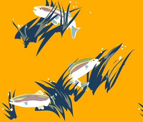Rainbow Trout in Habitat fabric by tanobes on Spoonflower - custom fabric
