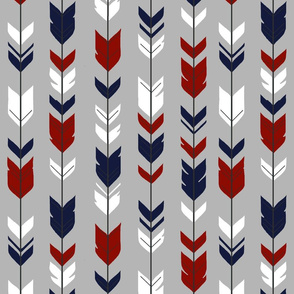 Arrow Feather - navy, dark red, white, gray