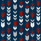 arrow Feathers- dark red, grey, white on navy