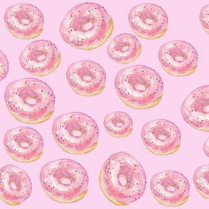 Pink Sprinkled Donuts on a Blush background