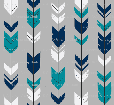 Arrow Feather - navy, teal, white on grey
