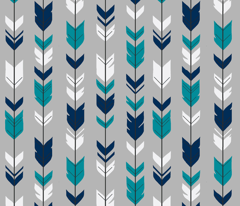 Arrow Feather - navy, teal, white on grey fabric by sugarpinedesign on Spoonflower - custom fabric