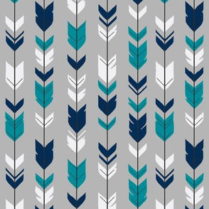 Arrow Feather - navy, teal, white on grey