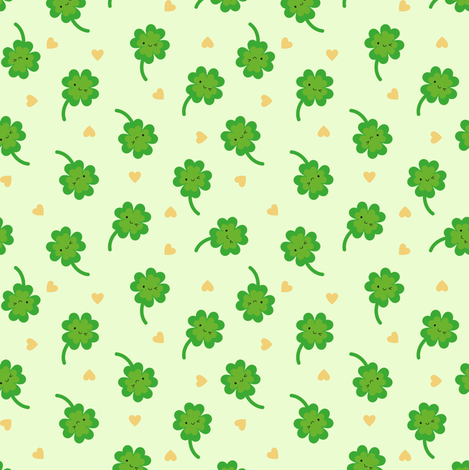 Kawaii Lucky Clover fabric by marcelinesmith on Spoonflower - custom fabric