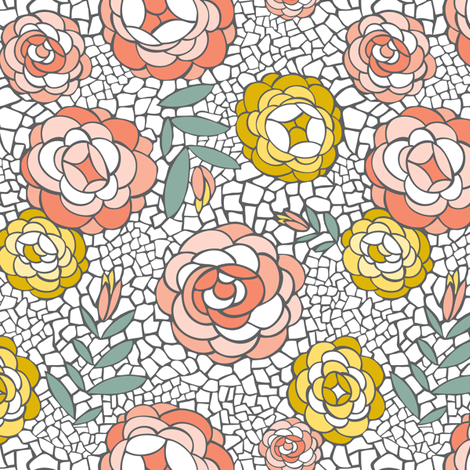 Desert Blossom - Mosaic Floral fabric by heatherdutton on Spoonflower - custom fabric