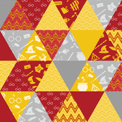 Pastel Potter Triangles - Maroon, Gold & Gray