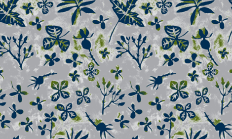 Garden Silhouettes Lavander Gris fabric by gollybard on Spoonflower - custom fabric