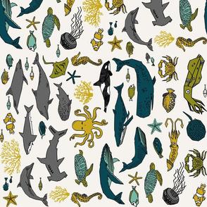 ocean animals fabric // railroad boys nursery fabric ocean under the sea nursery