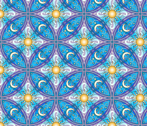 Sun and Moon Mandalas fabric by shala on Spoonflower - custom fabric