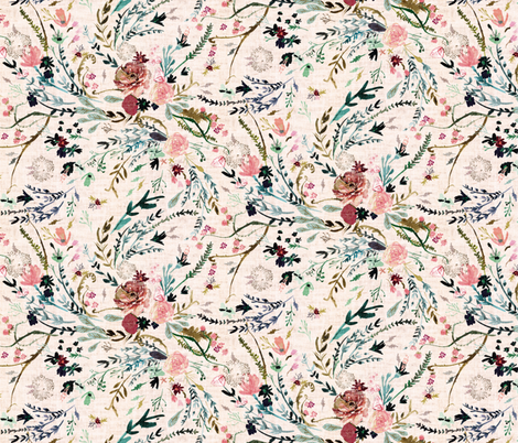 Fable Floral (blush) MED fabric by nouveau_bohemian on Spoonflower - custom fabric