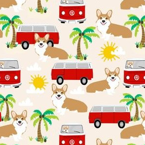 corgi beach summer fabric // bus palm trees dog fabric