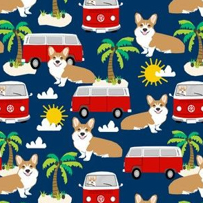 corgi beach summer fabric // bus palm trees dog fabric