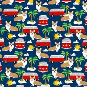 corgi summer beach fabric - surfing, dog, palm trees - navy
