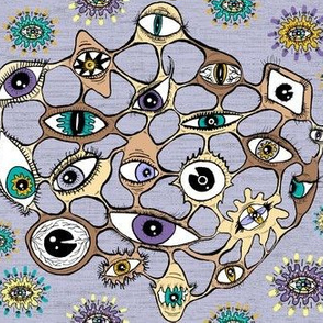 eyes eye geodesic geometric abstract, large scale, violet purple lavender orchid lilac brown taupe green beige